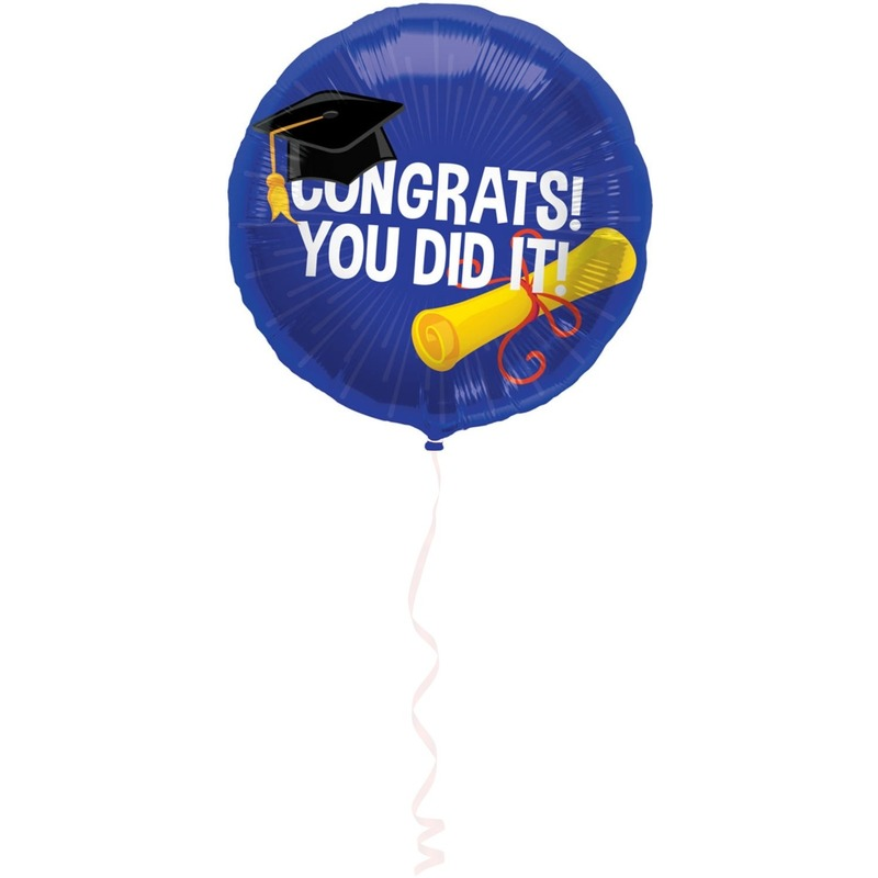 Geslaagd/afgestudeerd folieballon 45 cm feestversiering