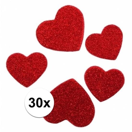 Glitter hartjes stickers 3D 30stuks