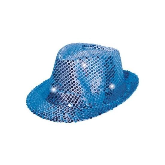 Glitter hoed blauw met LED verlichting