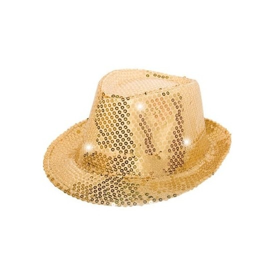 Glitter hoed goud met LED verlichting