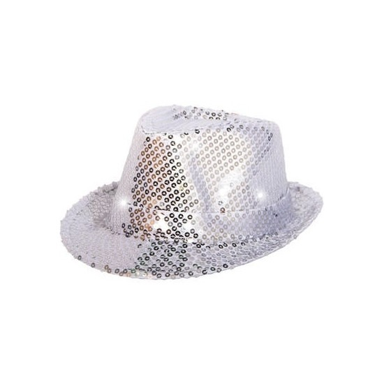 Glitter hoed zilver met LED verlichting