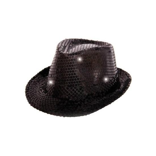 Glitter hoed zwart met LED verlichting