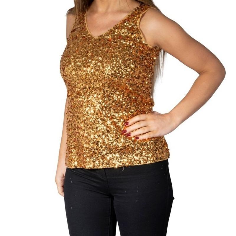 Glitter pailletten stretch hemdje/ topje goud dames