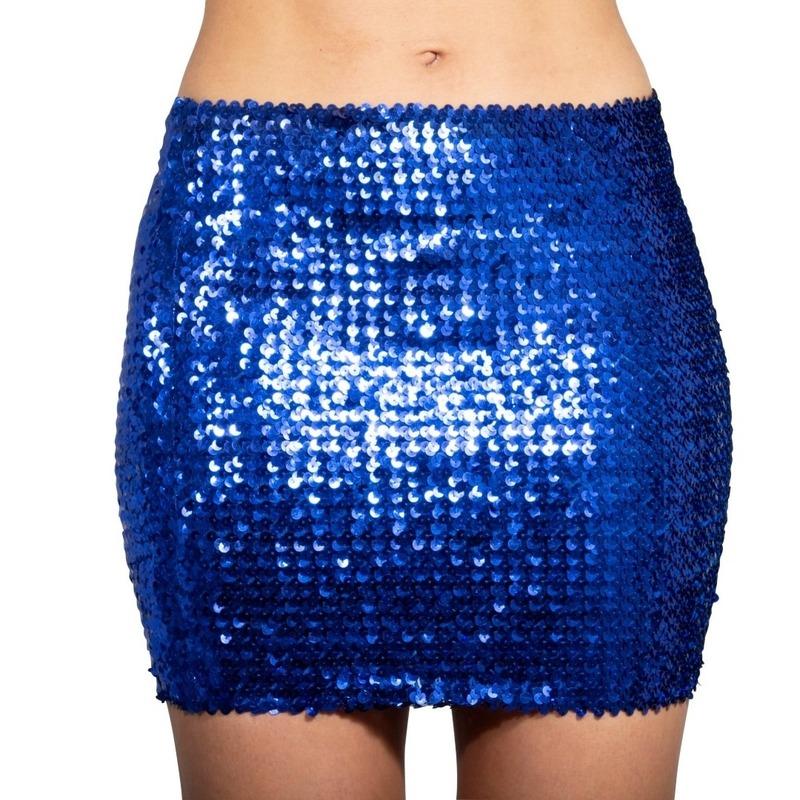 Glitter pailletten stretch rokje blauw dames