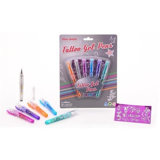Glittergel tattoo pennen 6 stuks