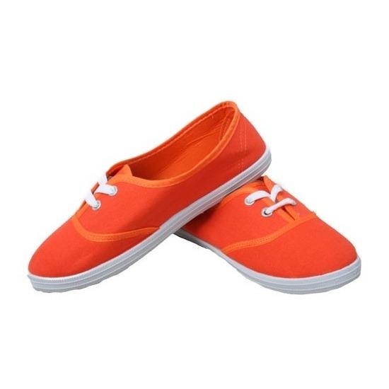 Goedkope oranje carnaval-feest schoenen-sneakers voor dames 36-41