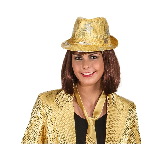 Goud disco hoedje met glitters