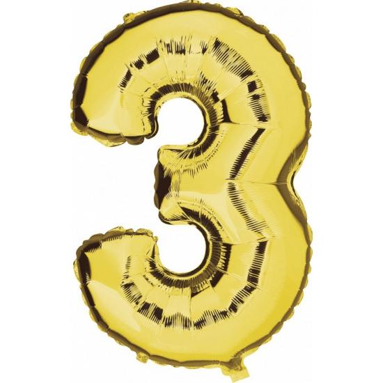 Gouden ballon cijfer 3
