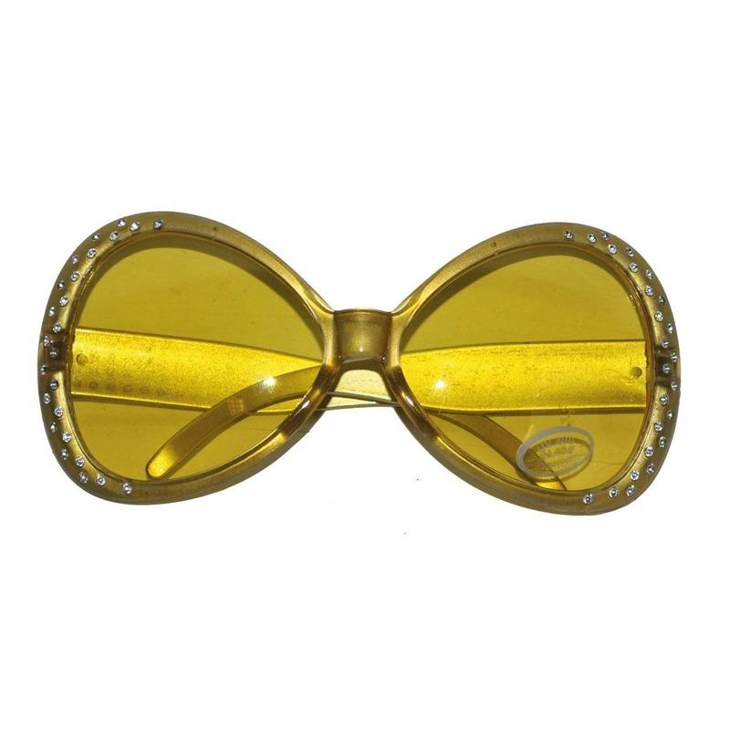 Gouden disco brillen met diamantjes