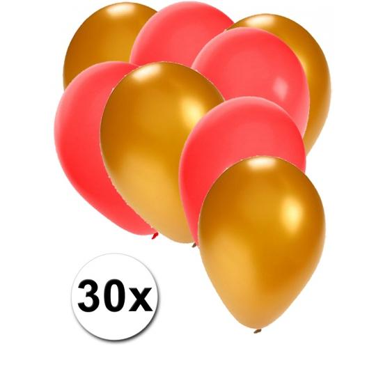 Gouden en rode ballonnen 30 stuks