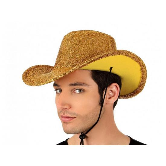 Gouden glitter cowboyhoed voor volwassenen