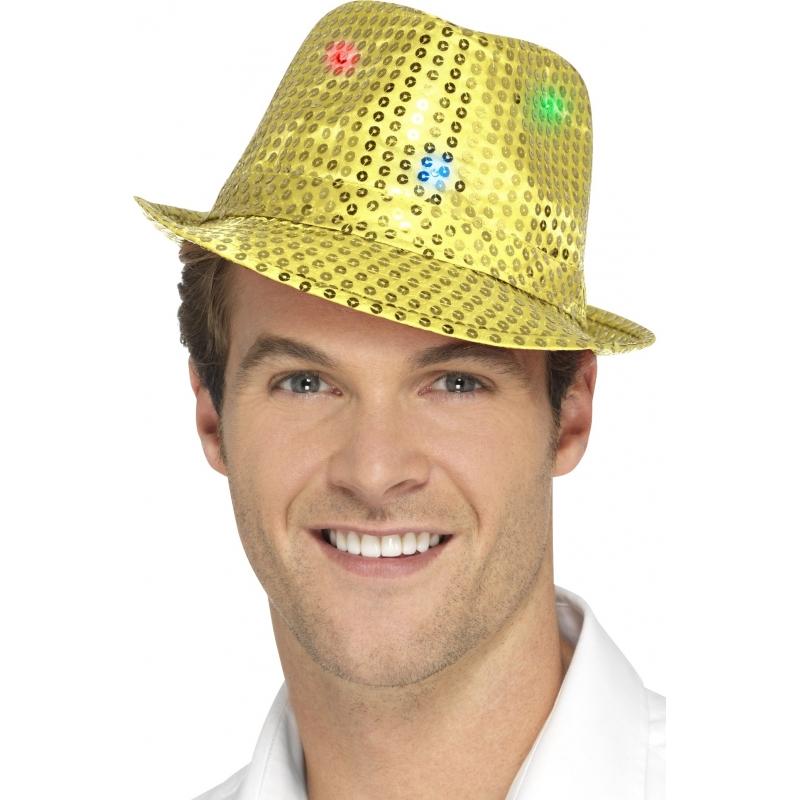 Gouden pailletten hoedjes met LED lichtjes