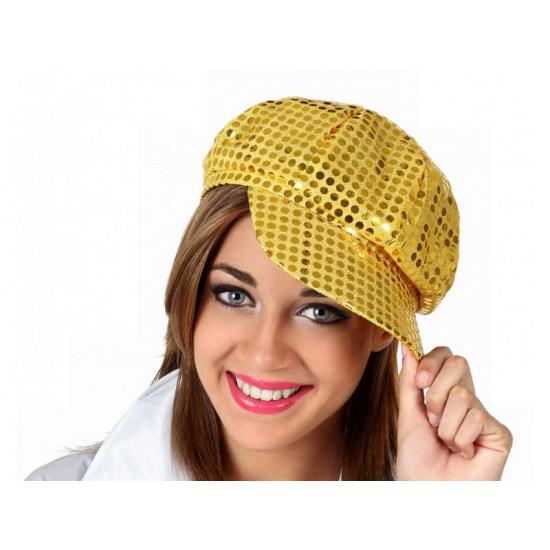 Gouden pailletten pet voor dames