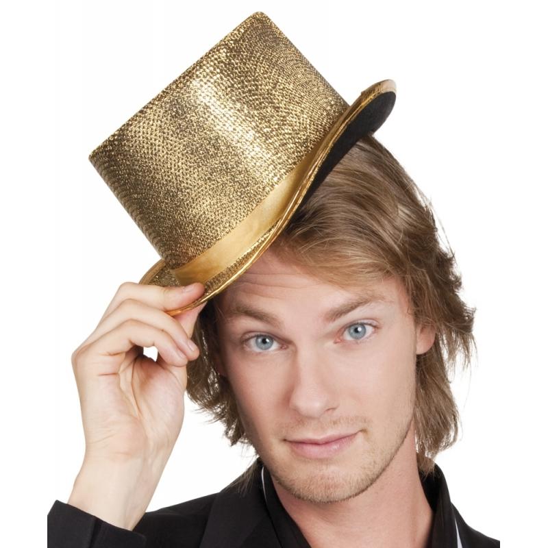 Gouden party hoed met glitters