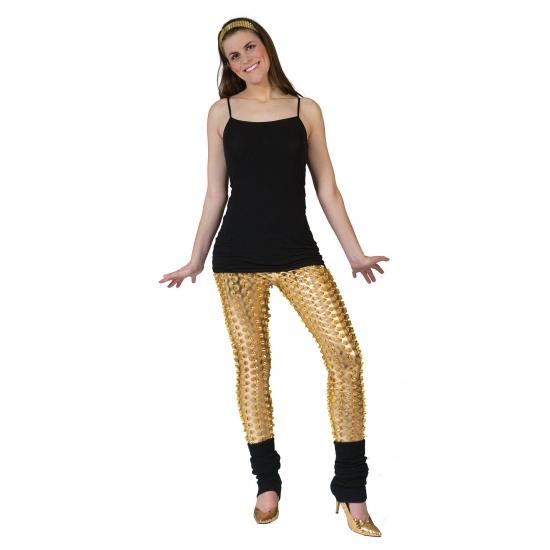 Gouden rock en roll legging met gaten