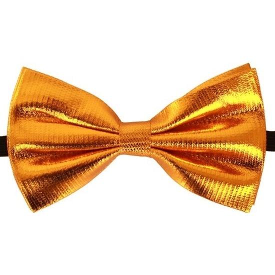 Gouden verkleed vlinderstrik/vlinderdas 14 cm voor dames/heren