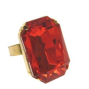 Goudkleurige Sinterklaas ring met rode steen