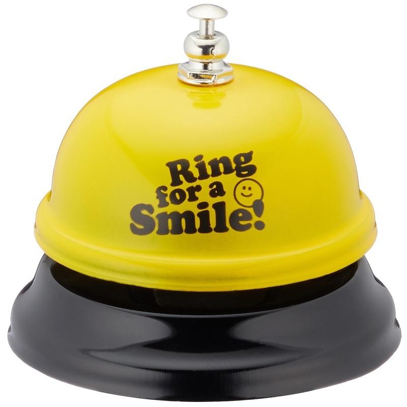 Grappige tafelbel geel Ring for a smile 7,5 cm