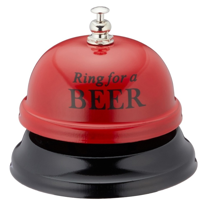 Grappige tafelbel rood Ring for a beer 7,5 cm