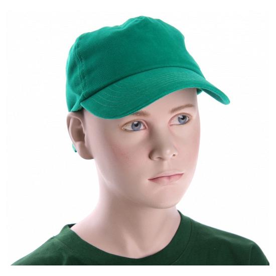 Grasgroene kinder caps