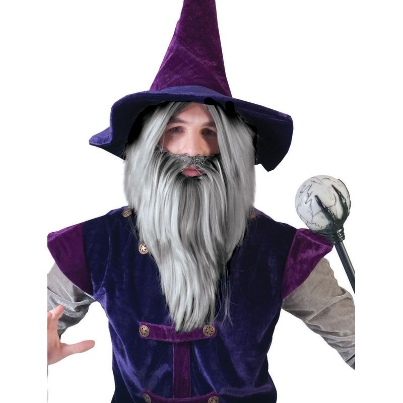 Grijze magier pruik met baard