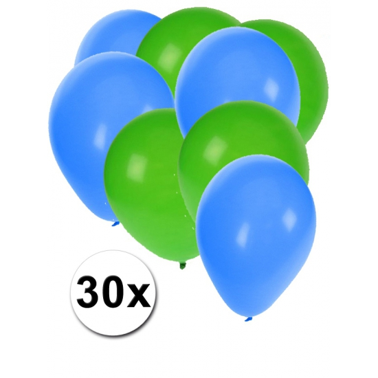 Groene en blauwe ballonnen 30 stuks