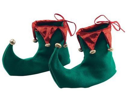Groene kerst elf schoenen van stof