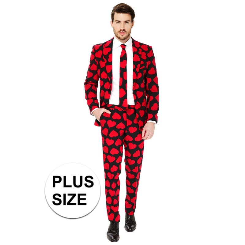 Grote maten heren verkleedkostuum King of Hearts business suit