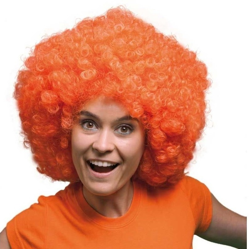Grote oranje afro pruiken