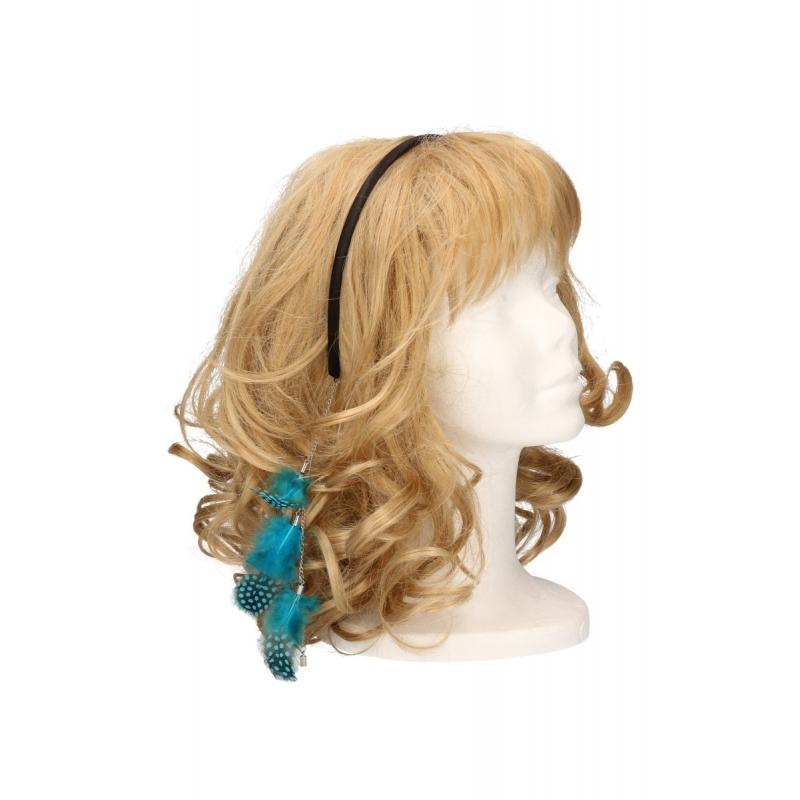 Haarband met veren ketting blauw