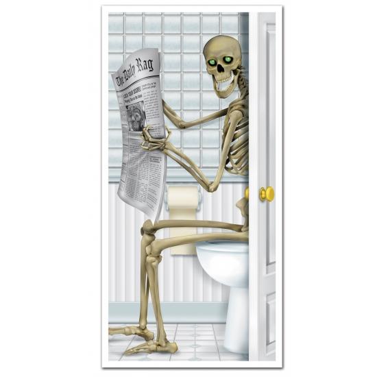 Halloween deurposters skelet op toilet