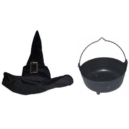 Halloween feest-party heks verkleedaccessoires heksenhoed en ketel voor dames