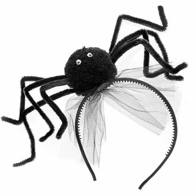 Halloween zwarte diadeem met spin