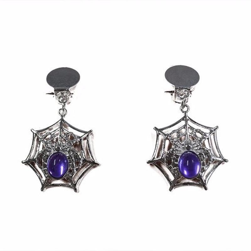 Heksen oorbellen zilver-paars voor dames