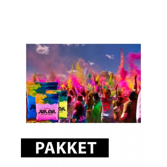 Holi kleurpoeder pakket met 3 kleuren type 2