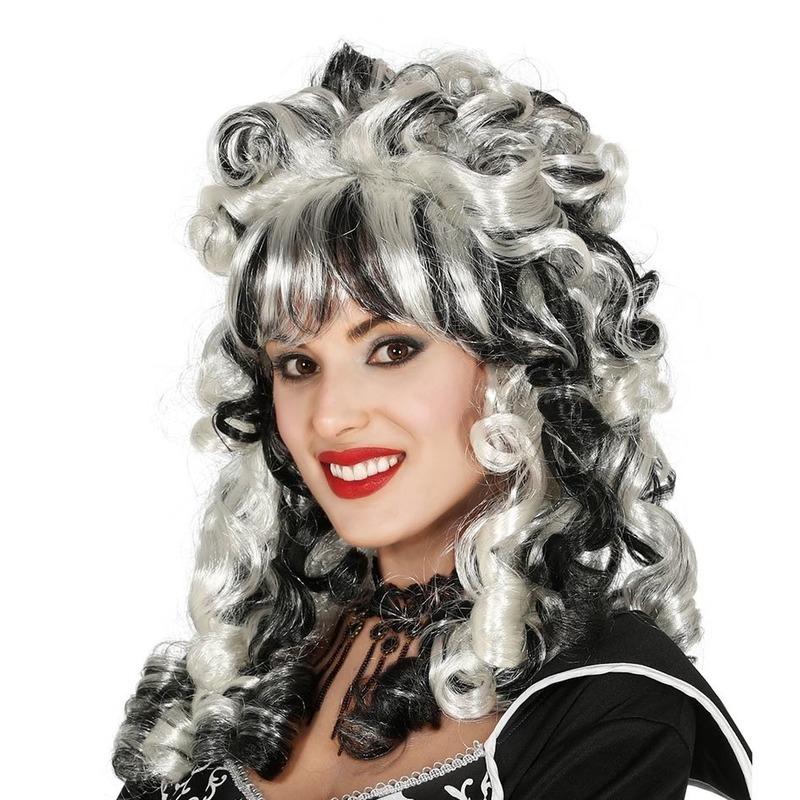 Horror pruik markiezin zwart wit voor dames