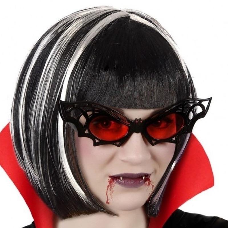Horror verkleed vleermuis bril met rode glazen voor volwassenen