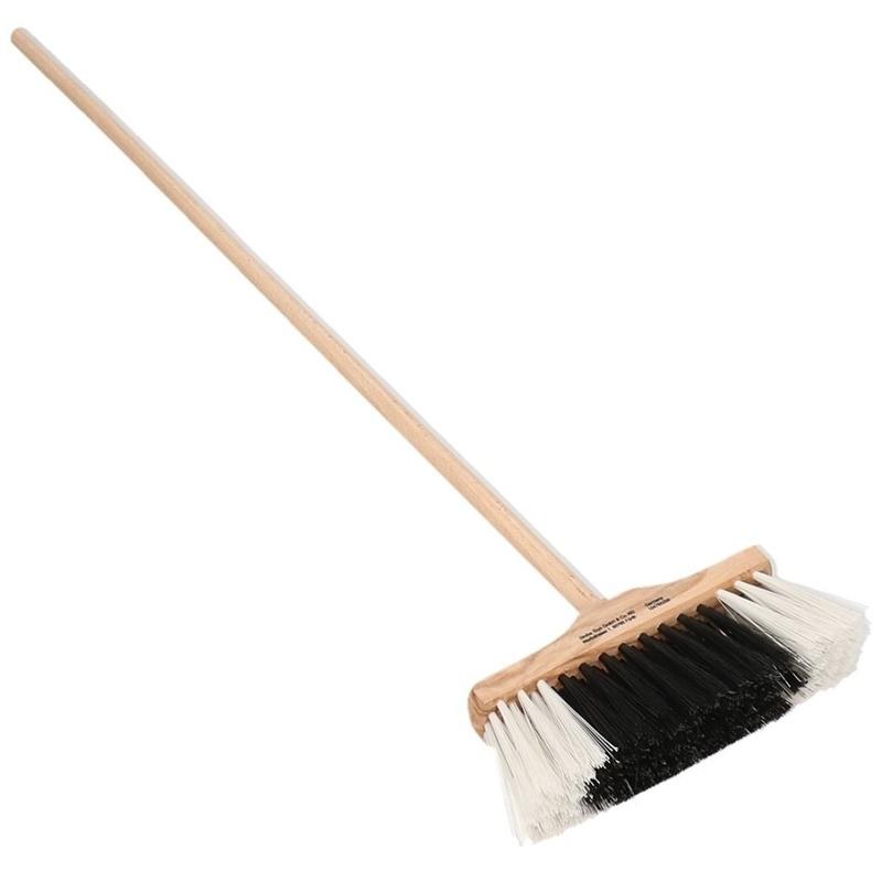 Houten bezems wit/zwart 70 cm voor kinderen