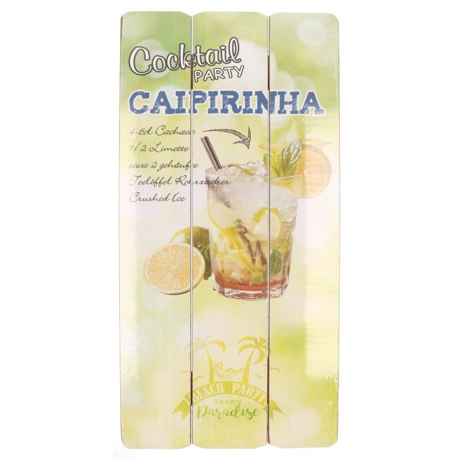 Houten muurplaatje Caipirinha cocktail