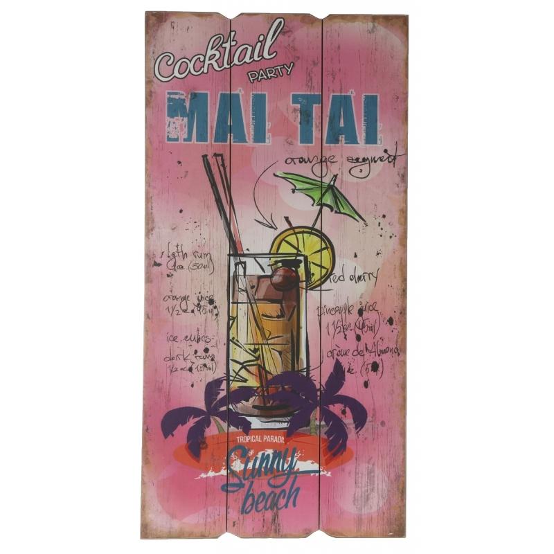 Houten muurplaatje Mai Tai cocktails