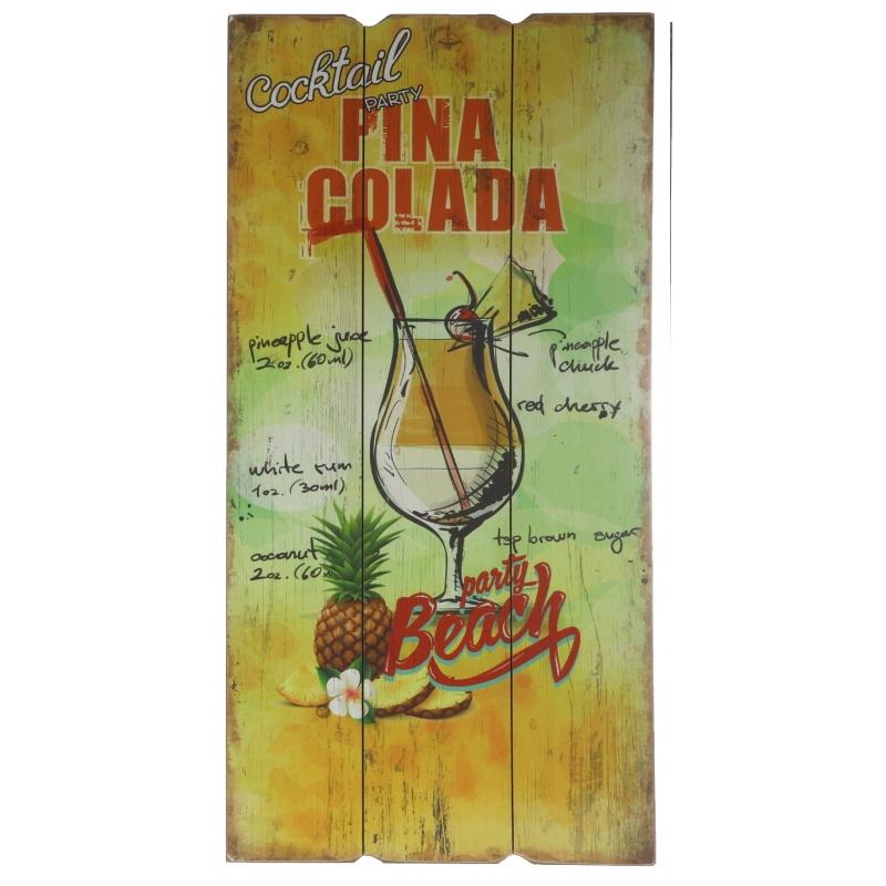 Houten muurplaatje Pina Colada cocktail