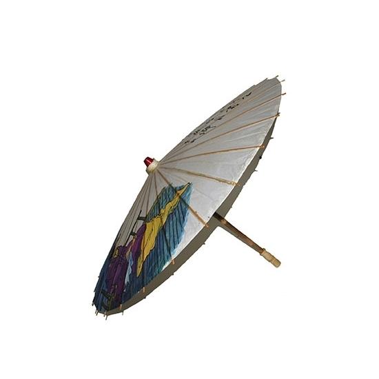 Houten paraplu Japanse tekens 85 cm