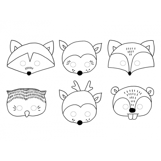 Inkleurbare dieren maskers voor kids