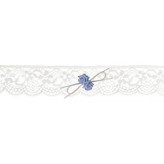 Kanten kousenband met blauwe roosjes