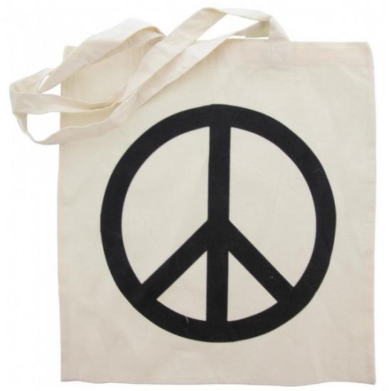 Katoenen boodschappentas met peace teken