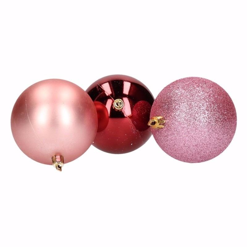12 Delige Kerstballen Set Roze Bordeaux Voor Een Disco Party