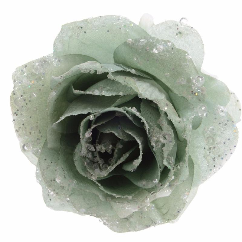 Kerstdecoratie roos groen op clip
