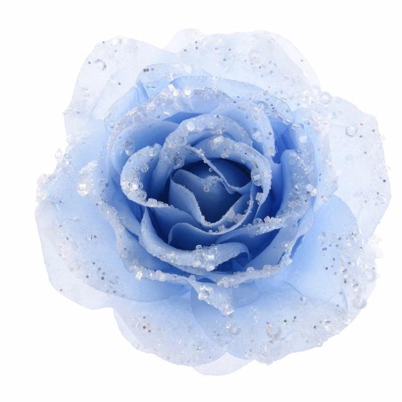 Kerstdecoratie roos ijsblauw op clip