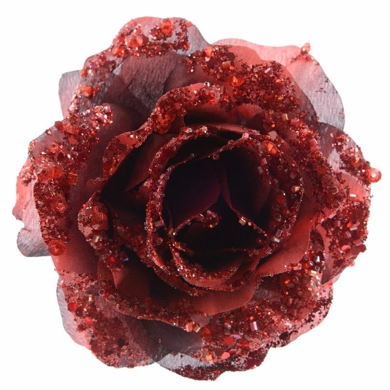 Kerstdecoratie roos rood op clip