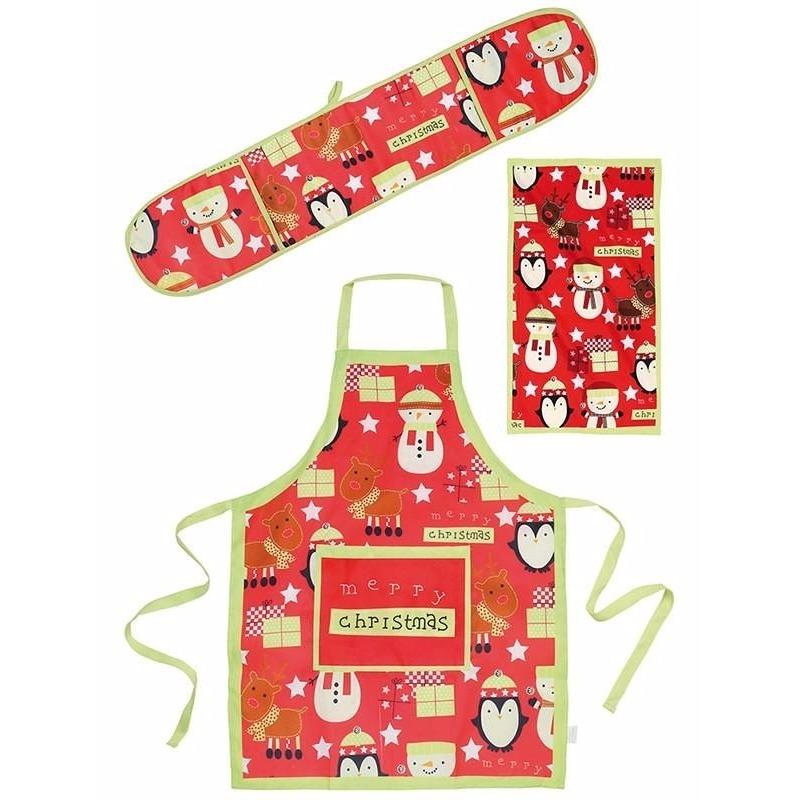 Kerstmis keukentextielset 3-delig